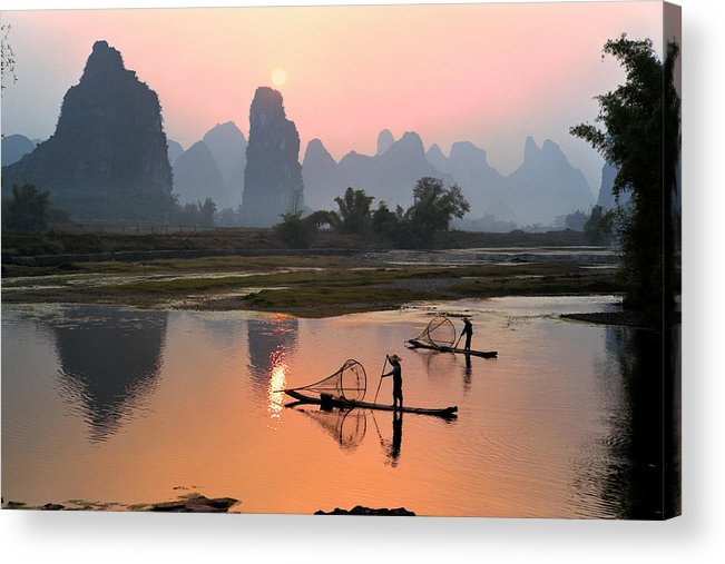 Chinese Culture Acrylic Print featuring the photograph Yangshuo Li River At Sunset by Kingwu