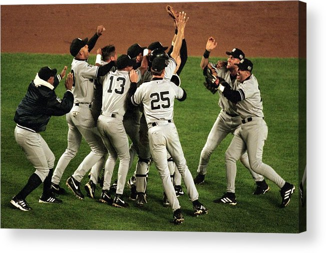 Celebration Acrylic Print featuring the photograph Yankees Celebrate by Al Bello