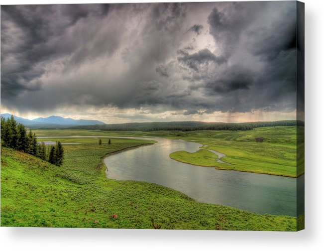 Scenics Acrylic Print featuring the photograph Yellowstone River In Hayden Valley by Kevin A Scherer