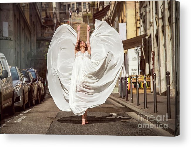 Ballet Dancer Acrylic Print featuring the photograph Young Female Dancer In The Streets by Yanis Ourabah