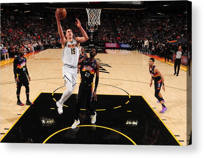 Playoffs Acrylic Print featuring the photograph 2021 NBA Playoffs - Denver Nuggets v Phoenix Suns by Barry Gossage