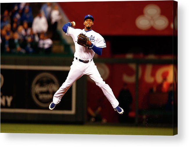 People Acrylic Print featuring the photograph Alcides Escobar by Jamie Squire