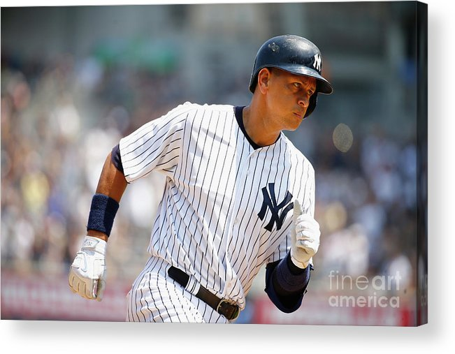 People Acrylic Print featuring the photograph Alex Rodriguez, Eric Hosmer, and Chris Young by Al Bello