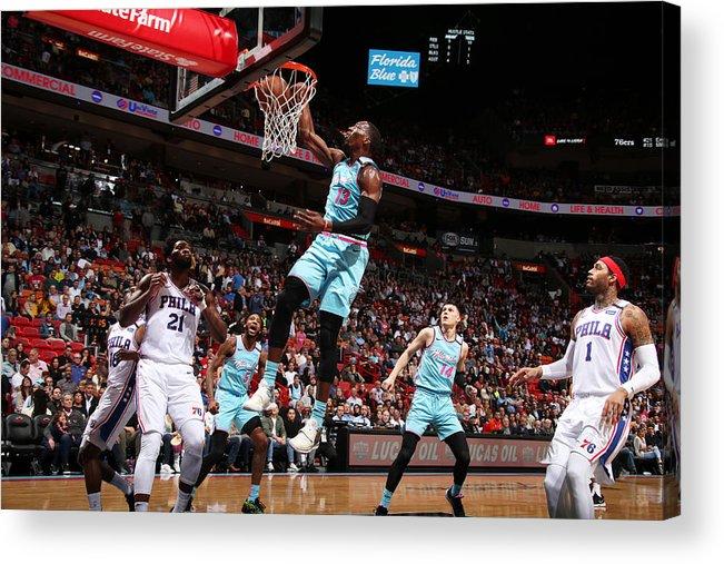 Nba Pro Basketball Acrylic Print featuring the photograph Bam Adebayo by Issac Baldizon