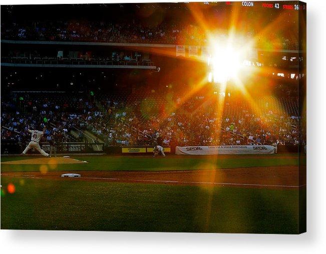 American League Baseball Acrylic Print featuring the photograph Bartolo Colon by Mike Stobe