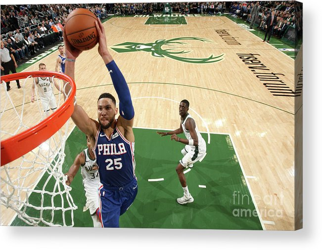 Nba Pro Basketball Acrylic Print featuring the photograph Ben Simmons by Gary Dineen