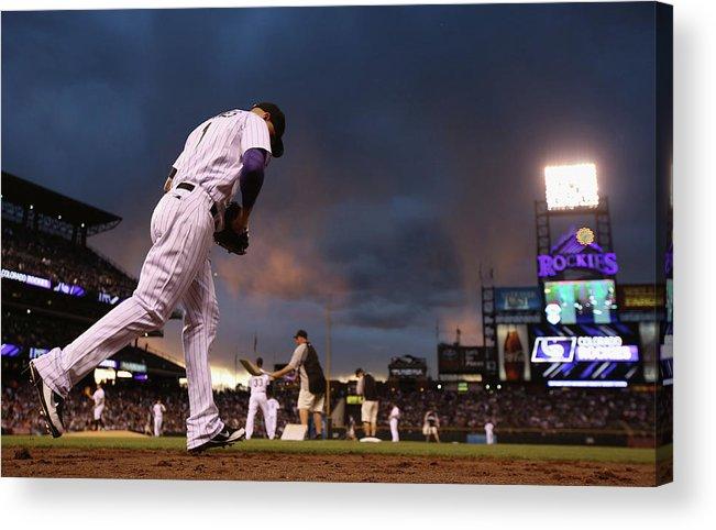 National League Baseball Acrylic Print featuring the photograph Brandon League by Doug Pensinger