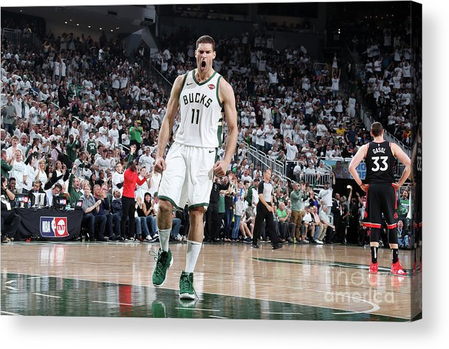 Playoffs Acrylic Print featuring the photograph Brook Lopez by Nathaniel S. Butler