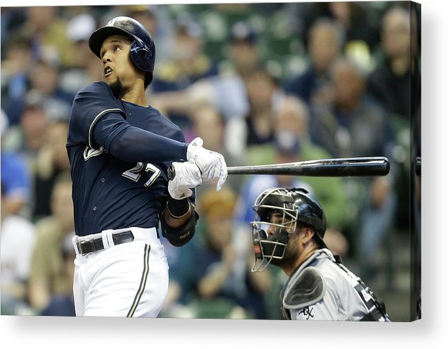American League Baseball Acrylic Print featuring the photograph Carlos Gomez by Mike Mcginnis