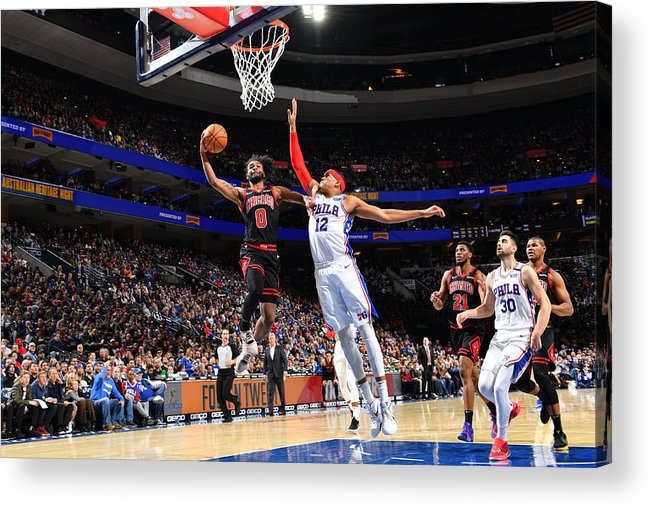 Coby White Acrylic Print featuring the photograph Chicago Bulls v Philadelphia 76ers by Jesse D. Garrabrant