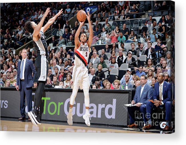 Nba Pro Basketball Acrylic Print featuring the photograph C.j. Mccollum by Mark Sobhani