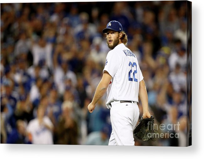 Three Quarter Length Acrylic Print featuring the photograph Clayton Kershaw by Ezra Shaw