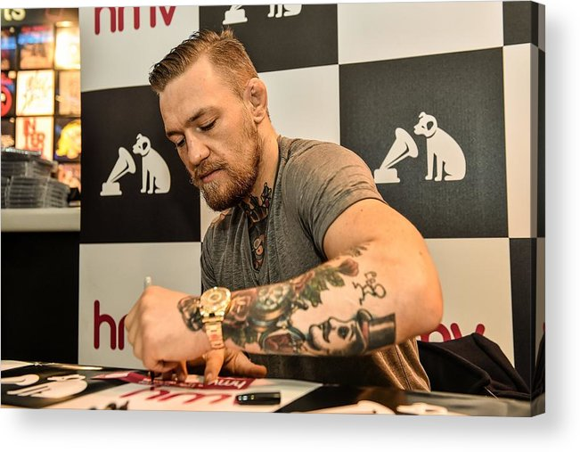 Dvd Acrylic Print featuring the photograph Conor McGregor DVD Signing by Sportsfile