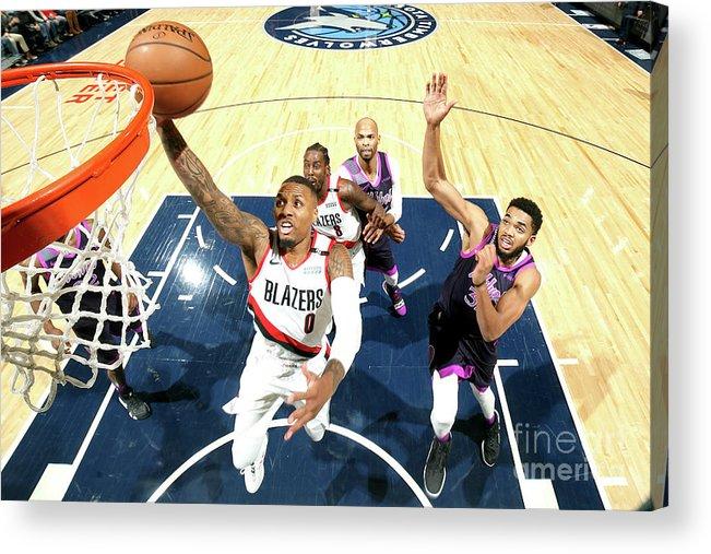 Nba Pro Basketball Acrylic Print featuring the photograph Damian Lillard by David Sherman