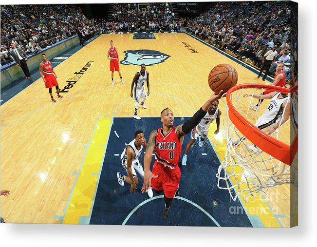Nba Pro Basketball Acrylic Print featuring the photograph Damian Lillard by Joe Murphy