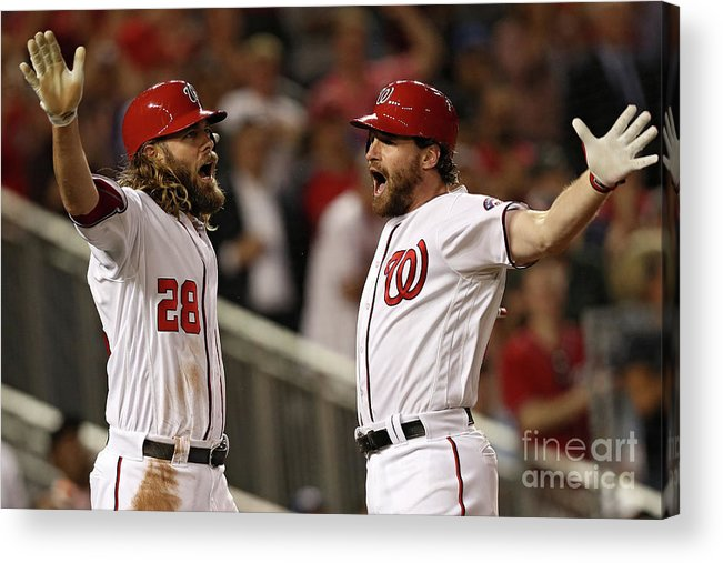 Three Quarter Length Acrylic Print featuring the photograph Daniel Murphy and Jayson Werth by Patrick Smith