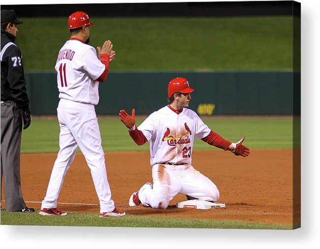 St. Louis Cardinals Acrylic Print featuring the photograph David Freese by Ezra Shaw