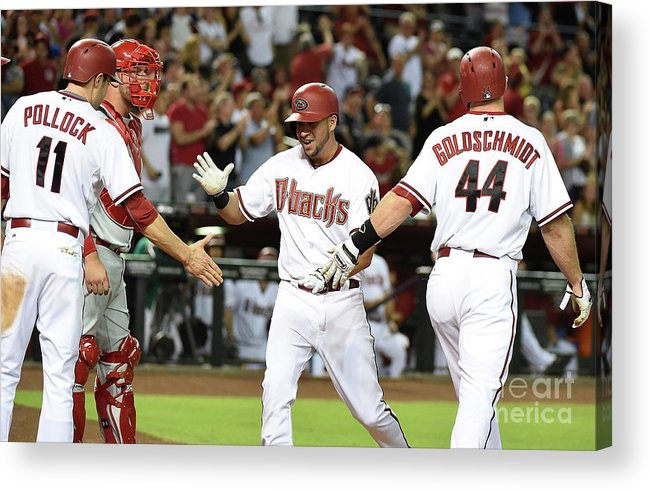 Second Inning Acrylic Print featuring the photograph David Peralta and Paul Goldschmidt by Norm Hall