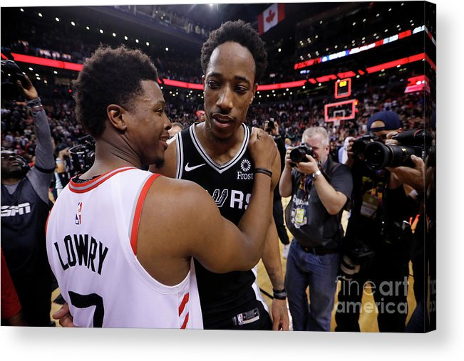 Nba Pro Basketball Acrylic Print featuring the photograph Demar Derozan and Kyle Lowry by Mark Blinch