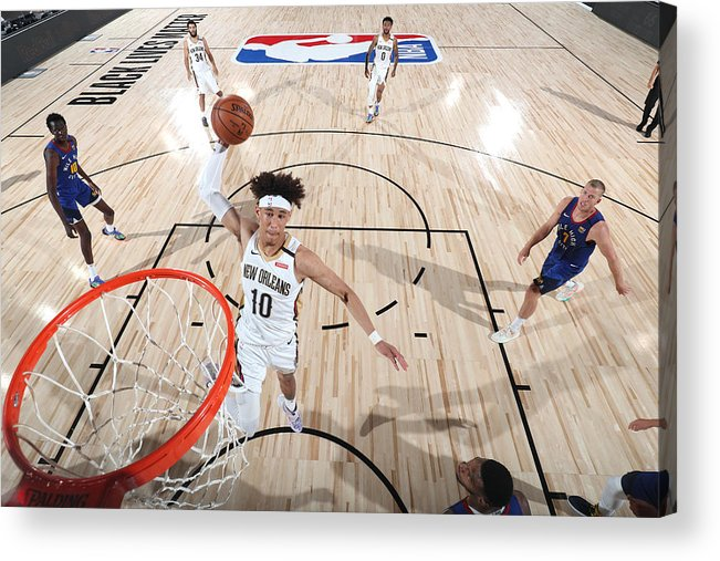 Nba Pro Basketball Acrylic Print featuring the photograph Denver Nuggets v New Orleans Pelicans by Joe Murphy