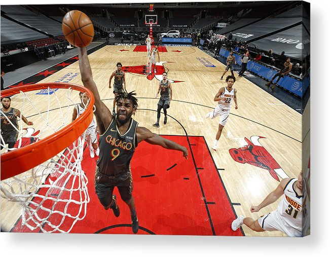Nba Pro Basketball Acrylic Print featuring the photograph Denver Nuggets Vs. Chicago Bulls by Jeff Haynes
