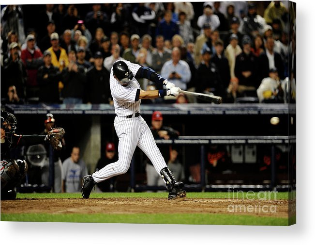 People Acrylic Print featuring the photograph Derek Jeter by Jeff Zelevansky