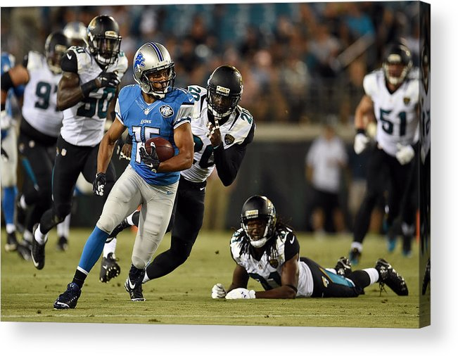 People Acrylic Print featuring the photograph Detroit Lions v Jacksonville Jaguars by Stacy Revere