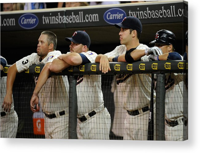 Joe Mauer Acrylic Print featuring the photograph Detroit Tigers v Minnesota Twins by Hannah Foslien