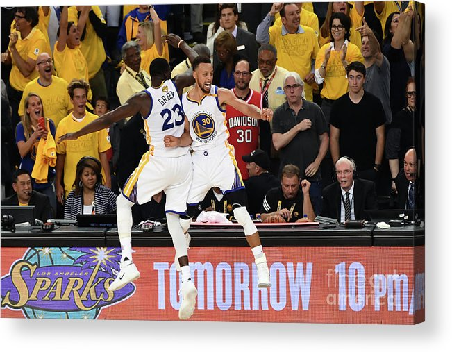 Playoffs Acrylic Print featuring the photograph Draymond Green and Stephen Curry by Garrett Ellwood
