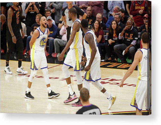 Playoffs Acrylic Print featuring the photograph Draymond Green, Stephen Curry, and Kevin Durant by Mark Blinch