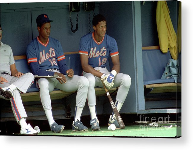 Dwight Gooden Acrylic Print featuring the photograph Dwight Gooden and Darryl Strawberry by George Gojkovich