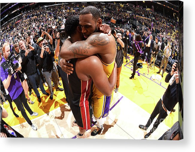 Nba Pro Basketball Acrylic Print featuring the photograph Dwyane Wade and Lebron James by Andrew D. Bernstein