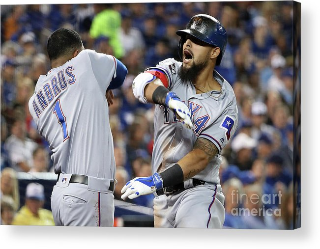 Three Quarter Length Acrylic Print featuring the photograph Elvis Andrus and Rougned Odor by Tom Szczerbowski