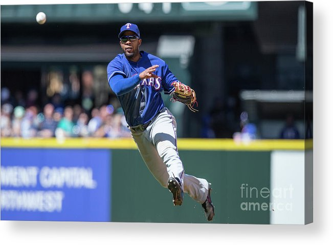 American League Baseball Acrylic Print featuring the photograph Elvis Andrus by Stephen Brashear