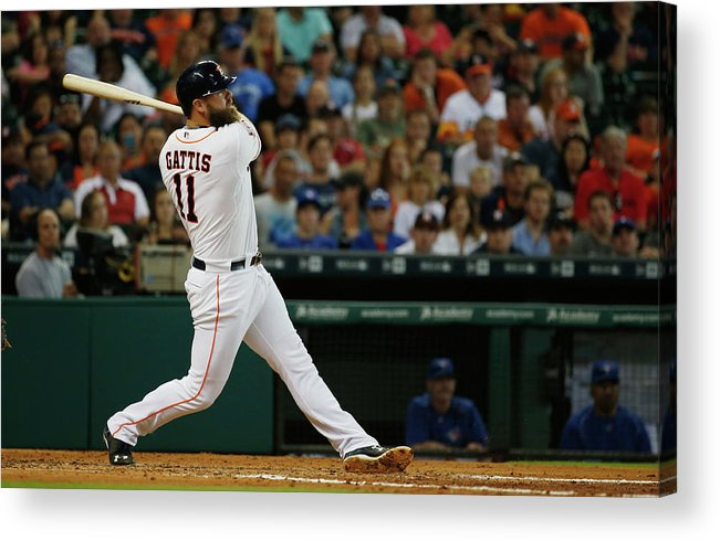 Evan Gattis Acrylic Print featuring the photograph Evan Gattis by Scott Halleran