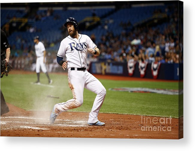 Second Inning Acrylic Print featuring the photograph Evan Longoria and Derek Norris by Brian Blanco