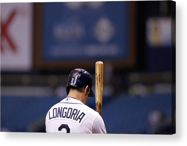 American League Baseball Acrylic Print featuring the photograph Evan Longoria by Brian Blanco