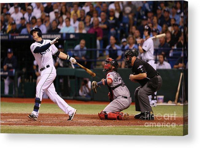 American League Baseball Acrylic Print featuring the photograph Evan Longoria by Mike Ehrmann