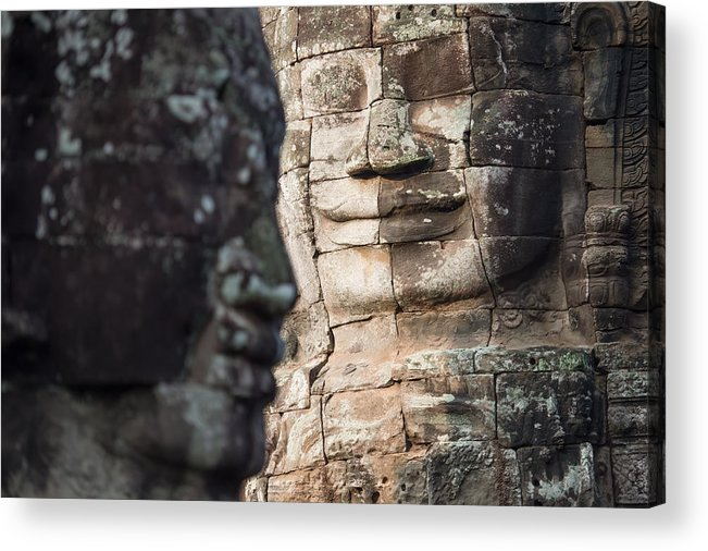 Relief Carving Acrylic Print featuring the photograph face of Bhudha at Bayon temple by Skaman306