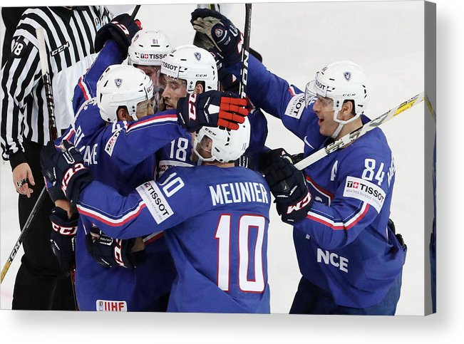 People Acrylic Print featuring the photograph Finland v France - 2017 IIHF Ice Hockey World Championship by Xavier Laine