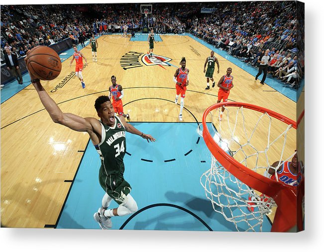 Nba Pro Basketball Acrylic Print featuring the photograph Giannis Antetokounmpo by Zach Beeker