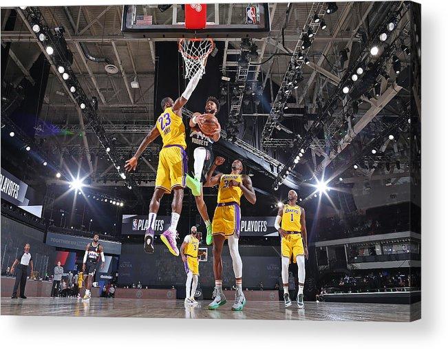 Nba Pro Basketball Acrylic Print featuring the photograph Jamal Murray and Lebron James by Garrett Ellwood