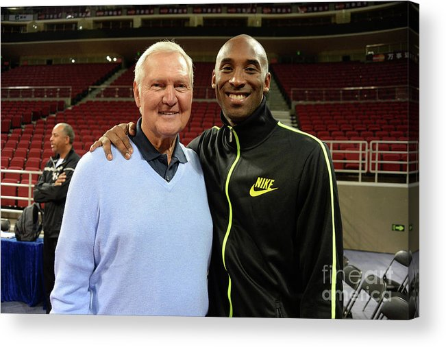 Nba Pro Basketball Acrylic Print featuring the photograph Jerry West and Kobe Bryant by Andrew D. Bernstein