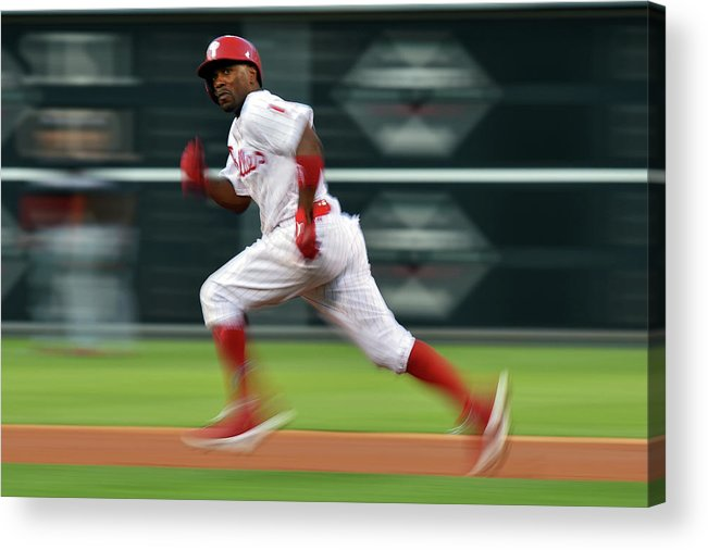 2nd Base Acrylic Print featuring the photograph Jimmy Rollins by Drew Hallowell