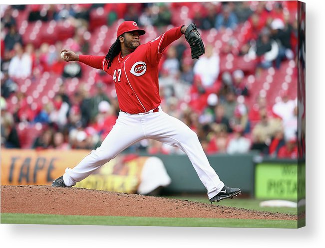 Great American Ball Park Acrylic Print featuring the photograph Johnny Cueto by Andy Lyons