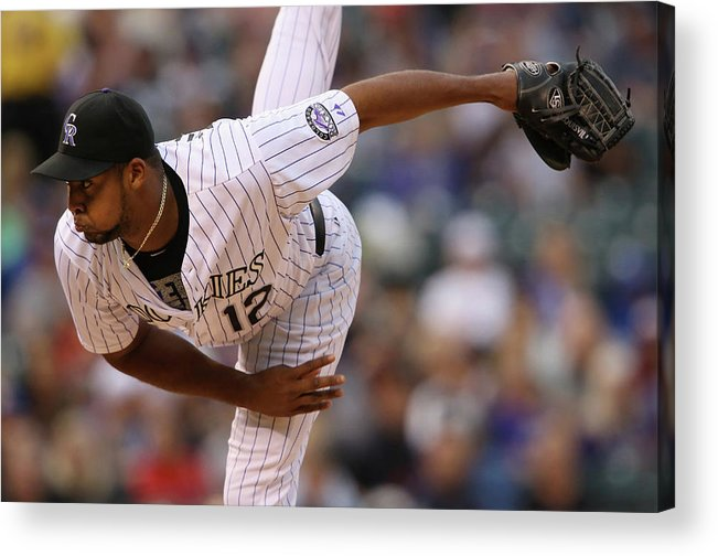 American League Baseball Acrylic Print featuring the photograph Juan Nicasio by Doug Pensinger