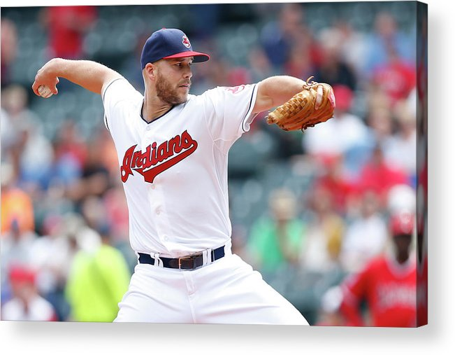 American League Baseball Acrylic Print featuring the photograph Justin Masterson by Joe Robbins