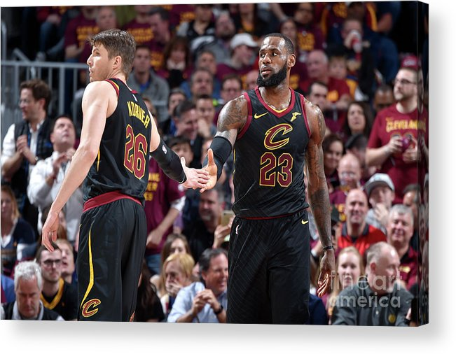 Playoffs Acrylic Print featuring the photograph Kevin Love and Lebron James by David Liam Kyle