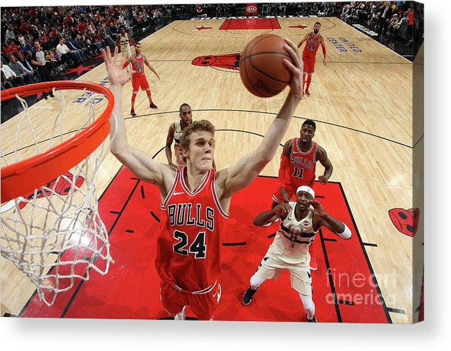 Chicago Bulls Acrylic Print featuring the photograph Lauri Markkanen by Gary Dineen