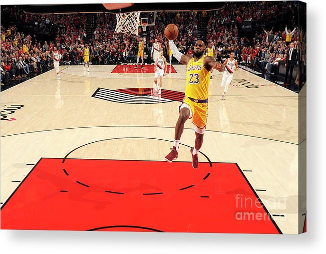 Nba Pro Basketball Acrylic Print featuring the photograph Lebron James by Cameron Browne